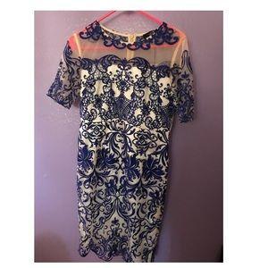 Women's Floral Blue Dress